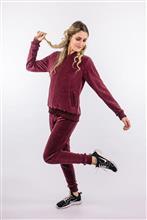 Jaqueta de plush com barras em tricot 3143