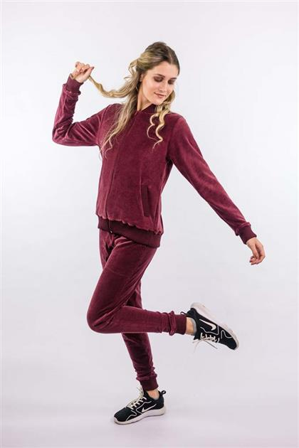 Calça esportiva plush com punhos em tricot 5077