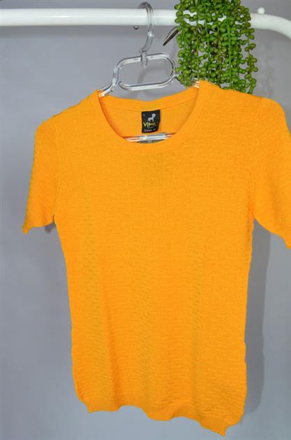 Blusa manga curta decote redondo com texturinhas 1204