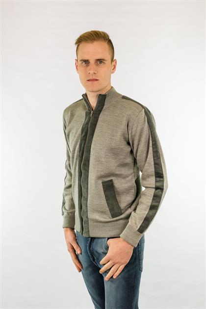 Jaqueta tricot gola alta com detalhes em veludo 7019