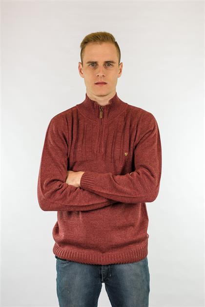 Camisa masculina com zíper na gola e canelados superiores 6105