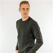Blusão masculino aran central e tranças decote redondo  6115