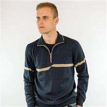 Camisa com gola e zíper e detalhe em listra 6116