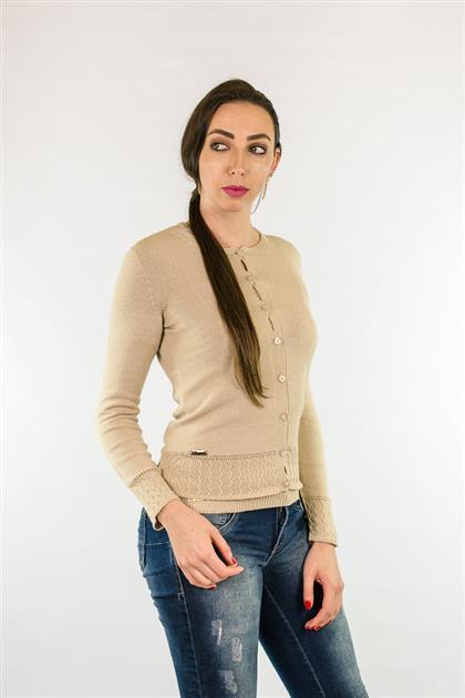 Casaco tipo cardigan básico com textura nas barras 3126