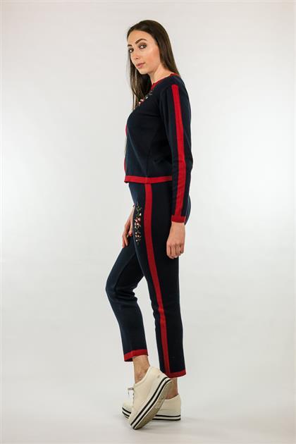 Calça Cropped com listra lateral e bordado 5058