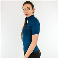 Blusa tricot manga curta com gola alta 1233