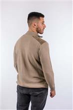 Camisa masculina em ponto trabalhado com detalhe em veludo 6122