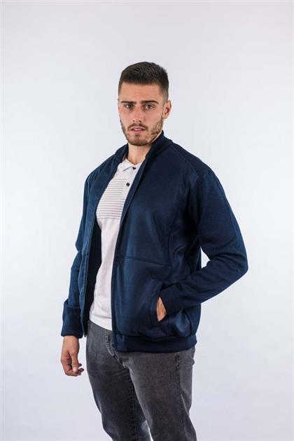 Jaqueta com frente em tecido com recortes e mangas e costas em tricot 7021