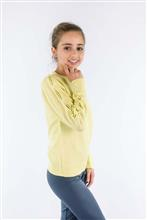 Blusa infantil com prega nas mangas e bordado de pérolas 8101
