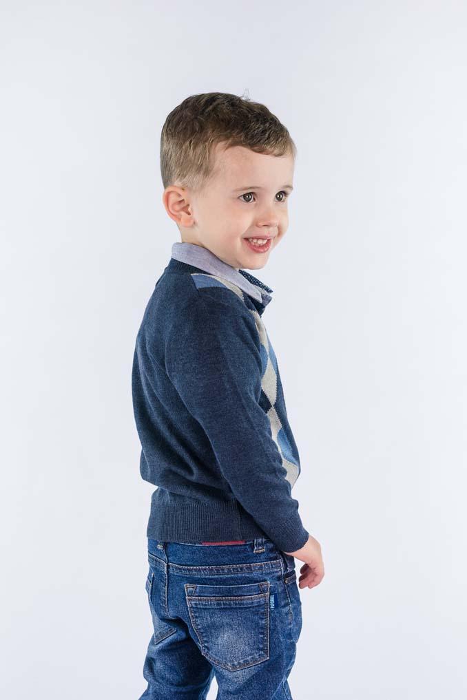 Blusão leve infantil com losangos quadriculados 9065
