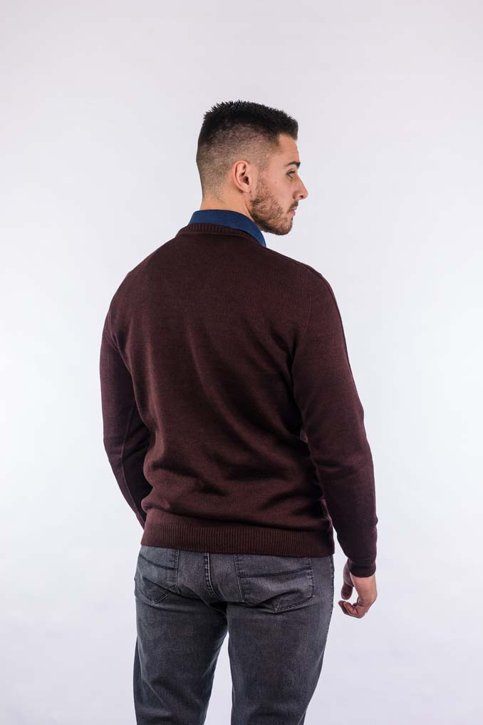 Blusão com lã e desenho em aran fino 6125