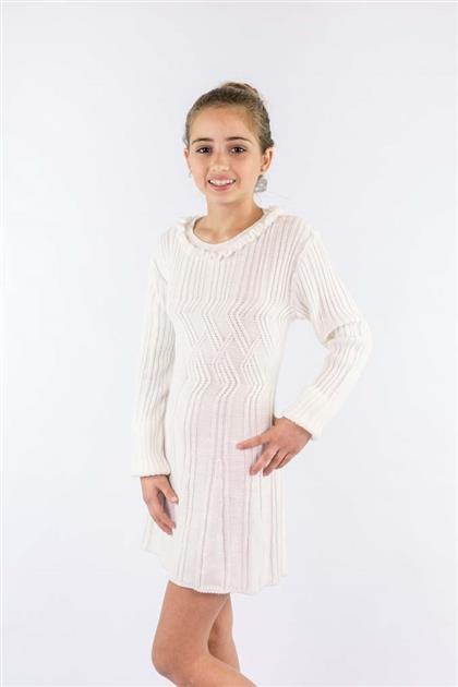 Vestido infantil com babado no decote e textura em aran 8098