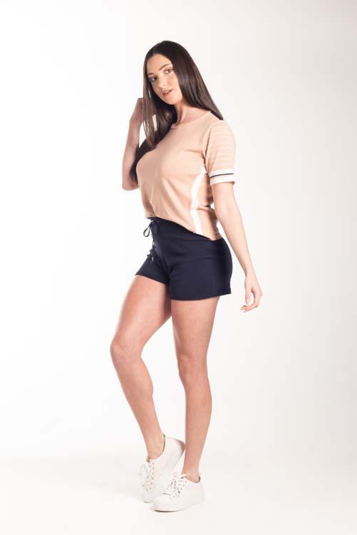 Short leve em tricot com mini nervuras na barra 5091