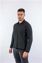 Camisa polo tricot com textura manga longa 6128