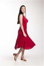 Vestido leve plissado com decote transpassado 5089