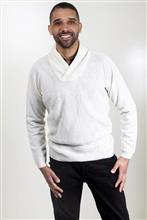 Blusão masculino com textura e gola xale  6158