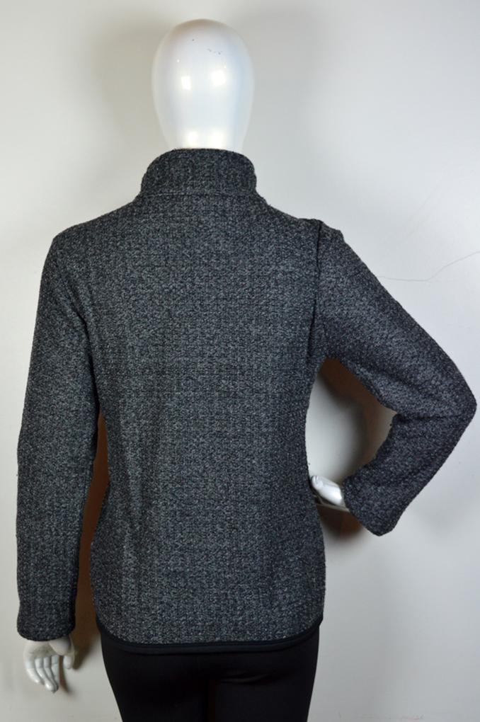 Jaqueta com Zíper em Tweed de Malha Peluciado com Bolso e Gola Alta 3051