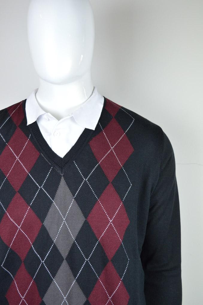 Blusão masculino padrão argyle 6084
