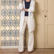 Calça tricot modelo Flare com jacquard floral 5041