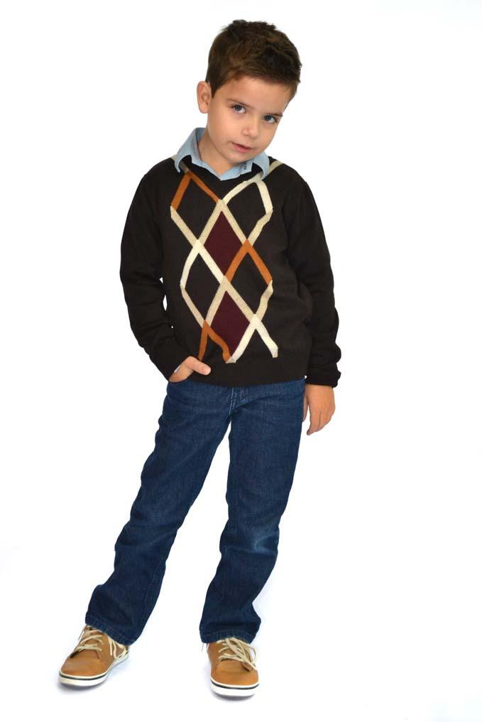 Blusão Infantil com Losangos em quatro cores 9049