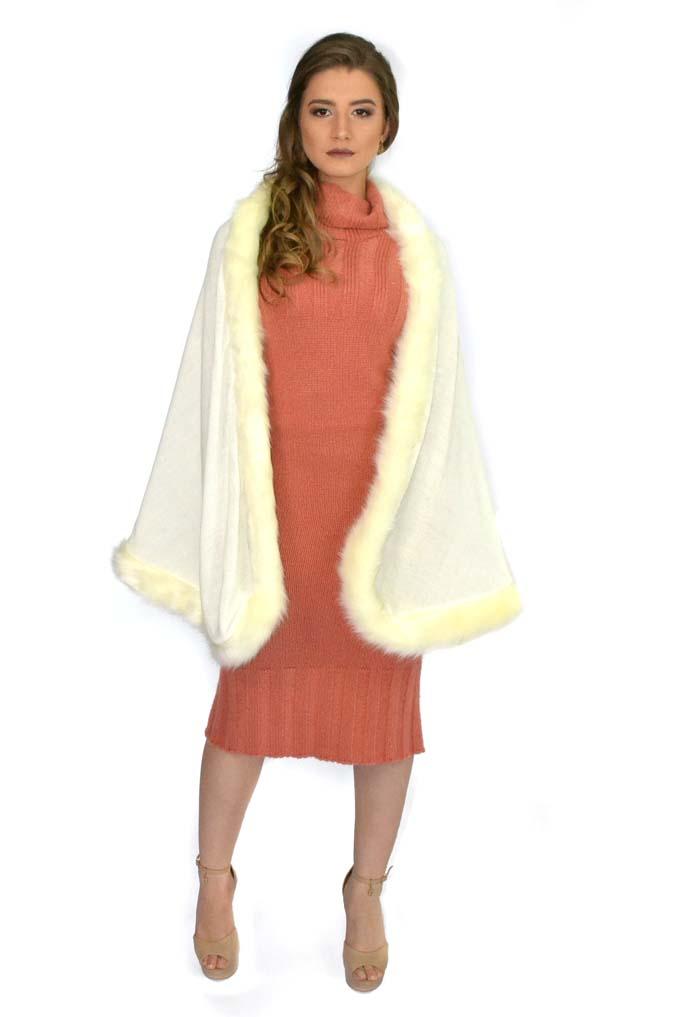 Capa estilo manta com bordas em pele 3102