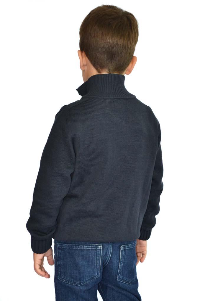 Camisa infantil com gola e zíper e detalhe canelado 9051