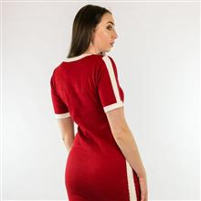 Vestido tricot com listra lateral e detalhes em segunda cor 5059