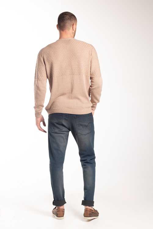 Blusão decote redondo com textura superior 6134