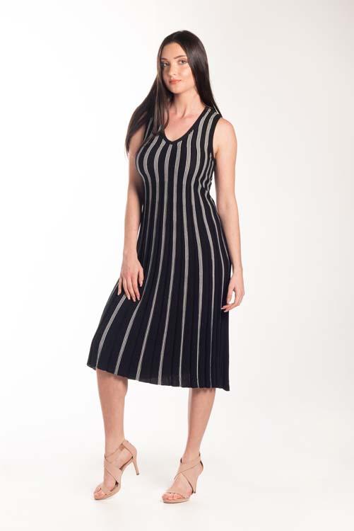 Vestido midi plissado com listras finas 5086