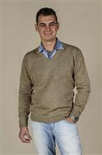 Blusão masculino com textura em losangos e decote v 6149